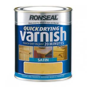 250 ml Dark Mahogany Ronseal Quick Dry Varnish Coloured Satin