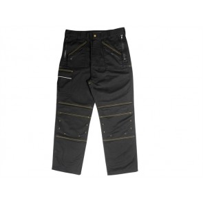 Roughneck Black Multi Zip Work Trouser