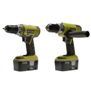 Ryobi Combi Drill & Ryobi Drill Driver Twin Pack 18V One+ 2 x NiCd