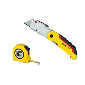 Stanley Fatmax Retract Knife + 5M/16Ft Tape