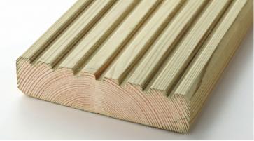 4.2mtr 120mm x 28mm Tanalised Redwood Decking