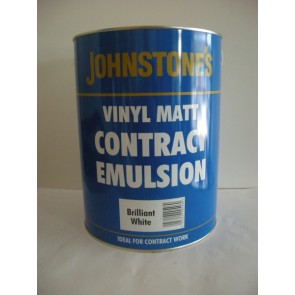 5 Litre White Johnstones Vinyl Matt Contract Emulsion Paint