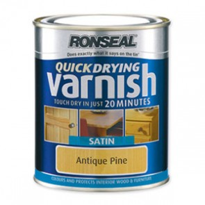 750 ml Antique Pine Ronseal Quick Dry Varnish Coloured Satin